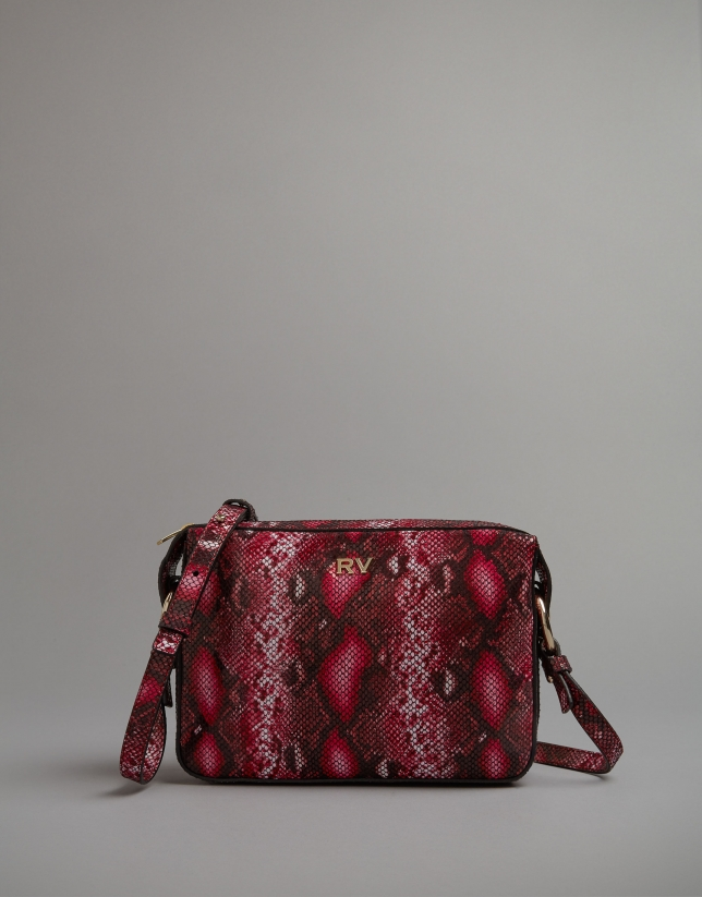Pink embossed snakeskin Trèsse shoulder bag