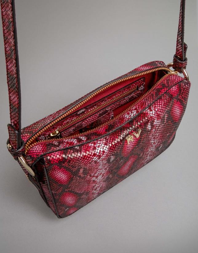 Pink embossed snakeskin Trèsse shoulder bag