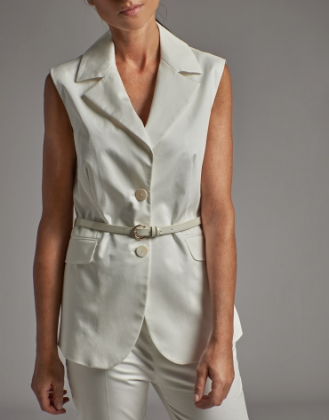 Beige cotton vest with lapels