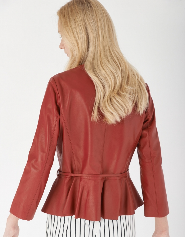 Short red goatskin leather jacket with peplum