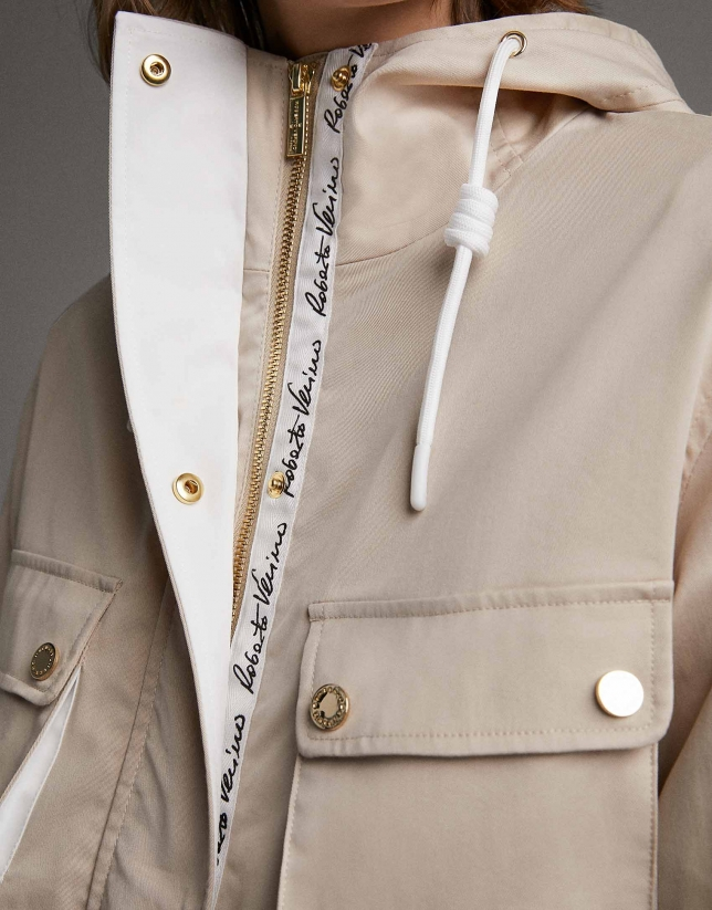 Beige parka with detachable hood