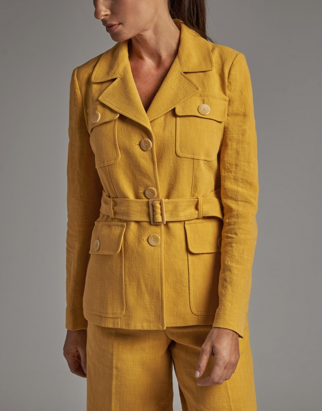 Safari jacket with four pockets