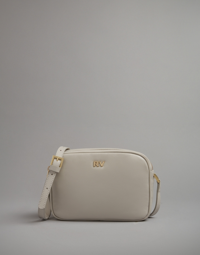 Pearl grey leather Taylor shoulder bag