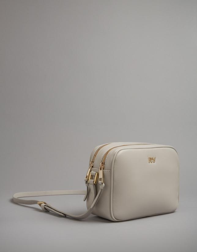 Pearl grey leather Taylor shoulder bag