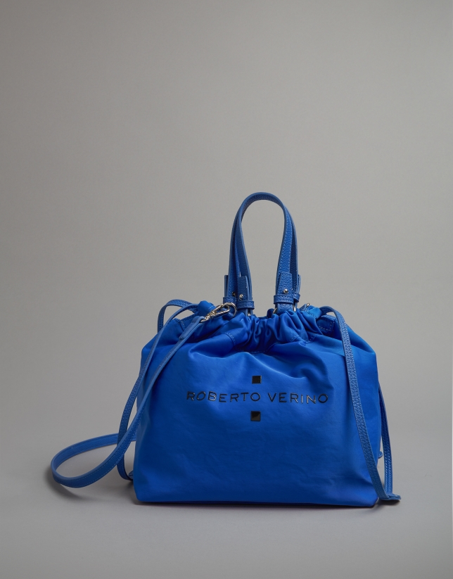 Blue nylon Wax midi shopping bag
