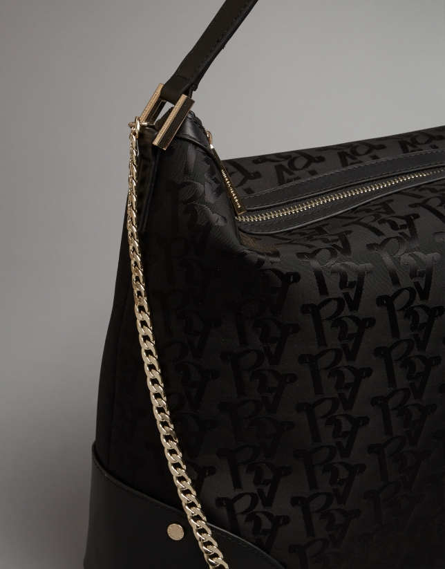 Black nylon Bomber Hobo bag with logos