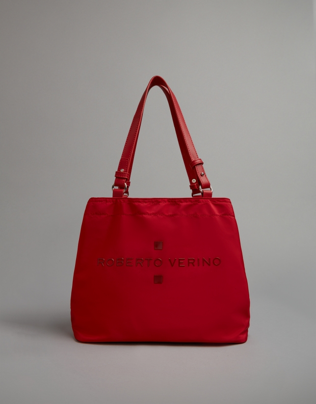 Red nylon Roxy nano-hobo bag