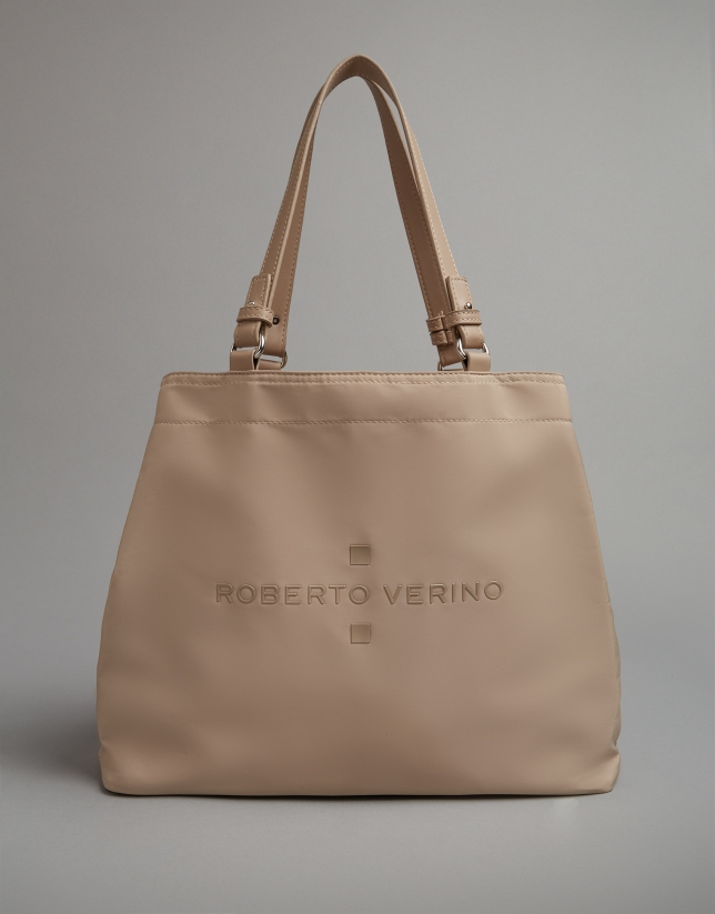 Beige nylon Roxy midi-hobo bag
