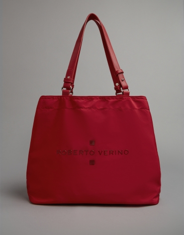 Red nylon Roxy midi-hobo bag