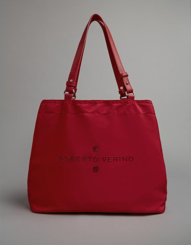 Red nylon Roxy midi-hobo bag