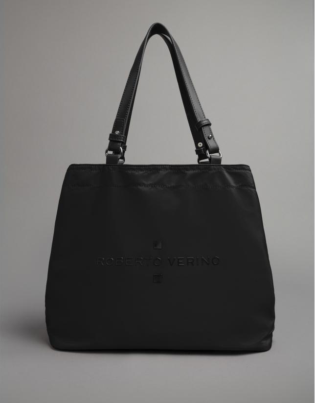 Black nylon Roxy midi-hobo bag