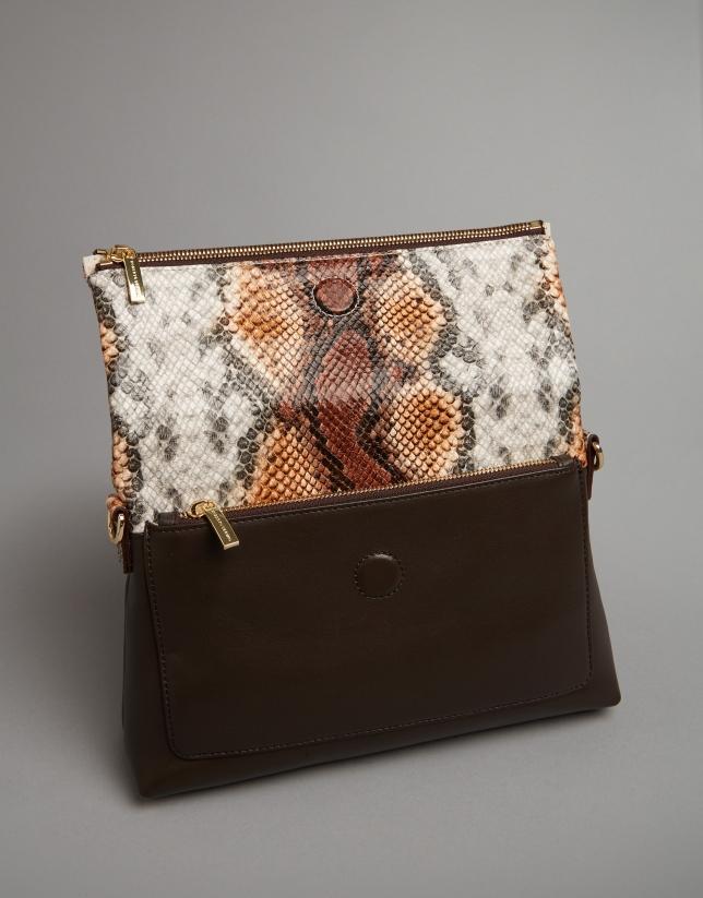 Toffee snakeskin print Abisal shoulder bag