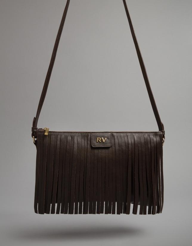 Brown leather Manila shoulder bag