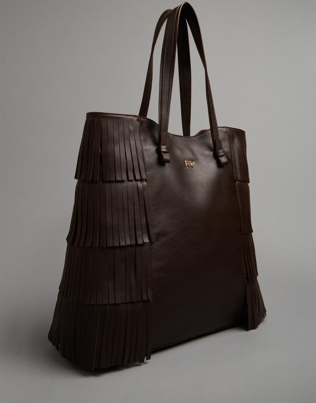 Bolso shopper Manila piel flecos marrón