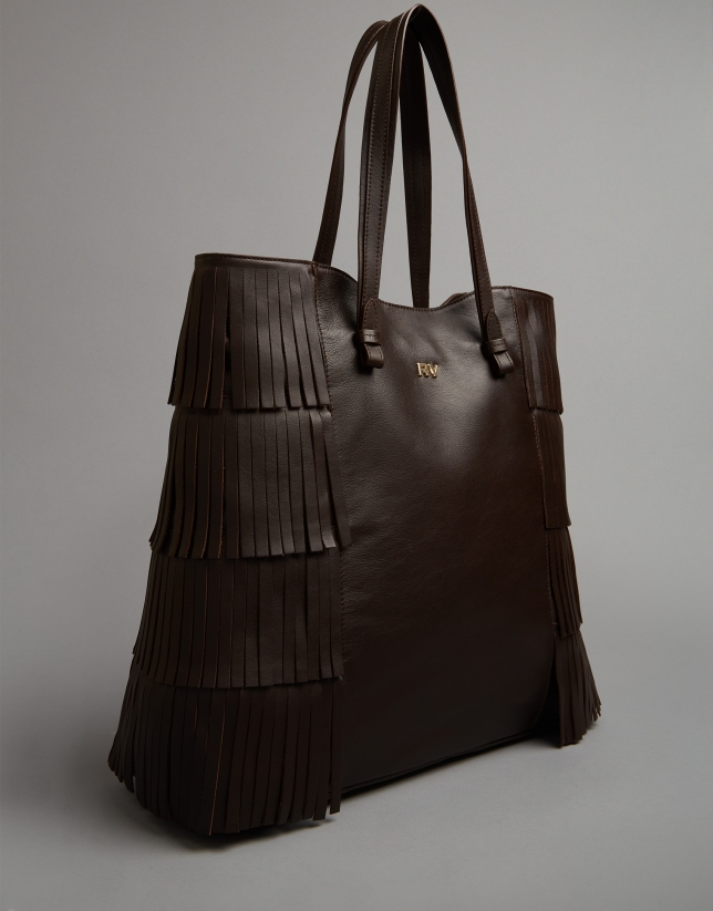 Brown leather Manila shopping bag with fringe