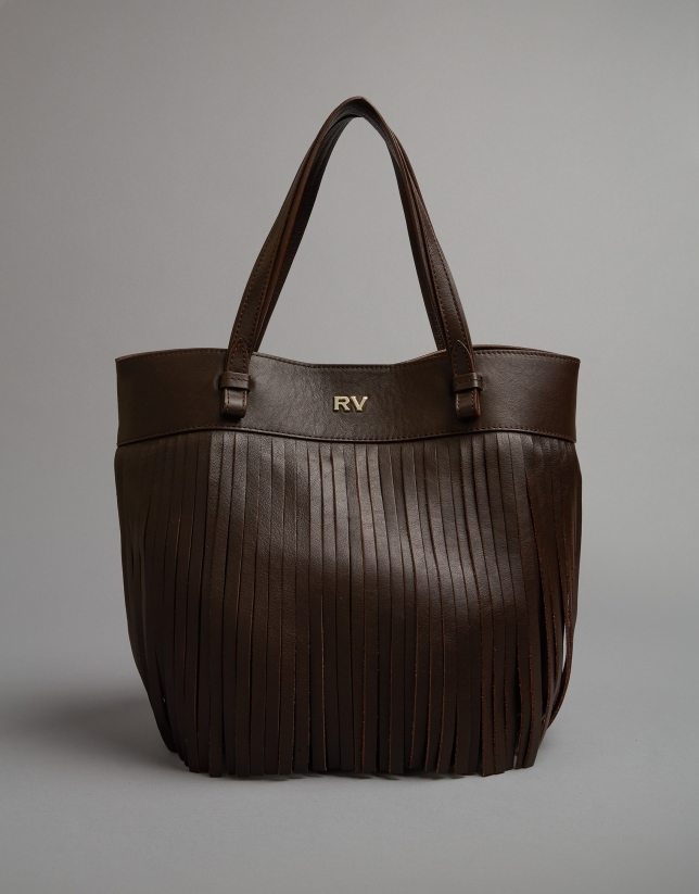 Brown leather Manila drawstring bag