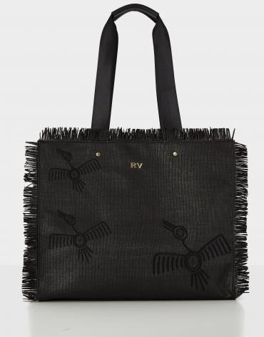 Black raffia Okabango shopping bag