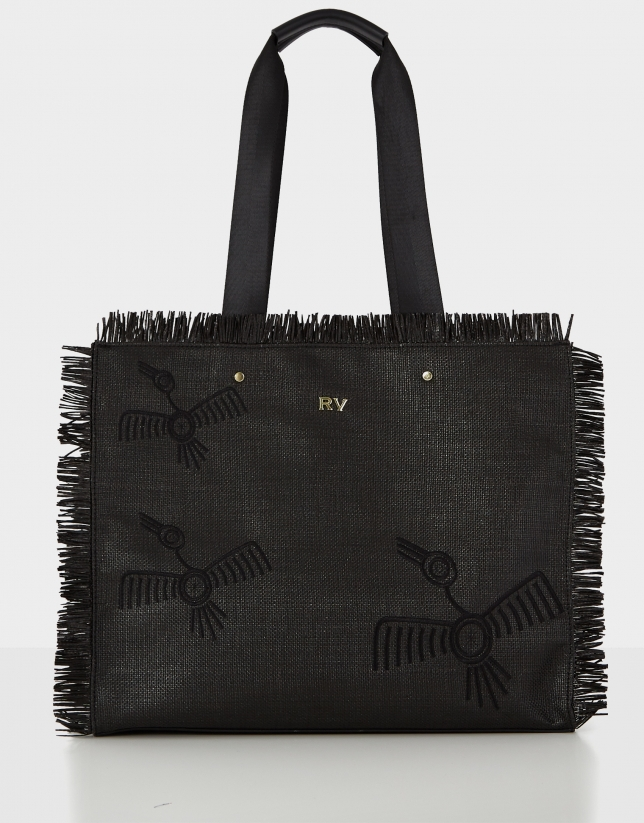 Black raffia Okabango shopping bag