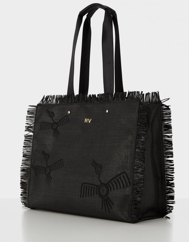 Bolso shopper Okabango rafia negra