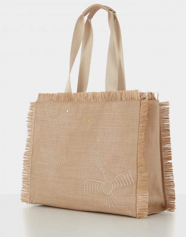 Bolso shopper Okabango rafia beige