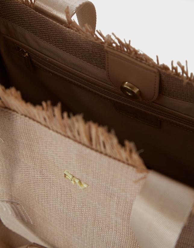 Beige raffia Okabango shopping bag