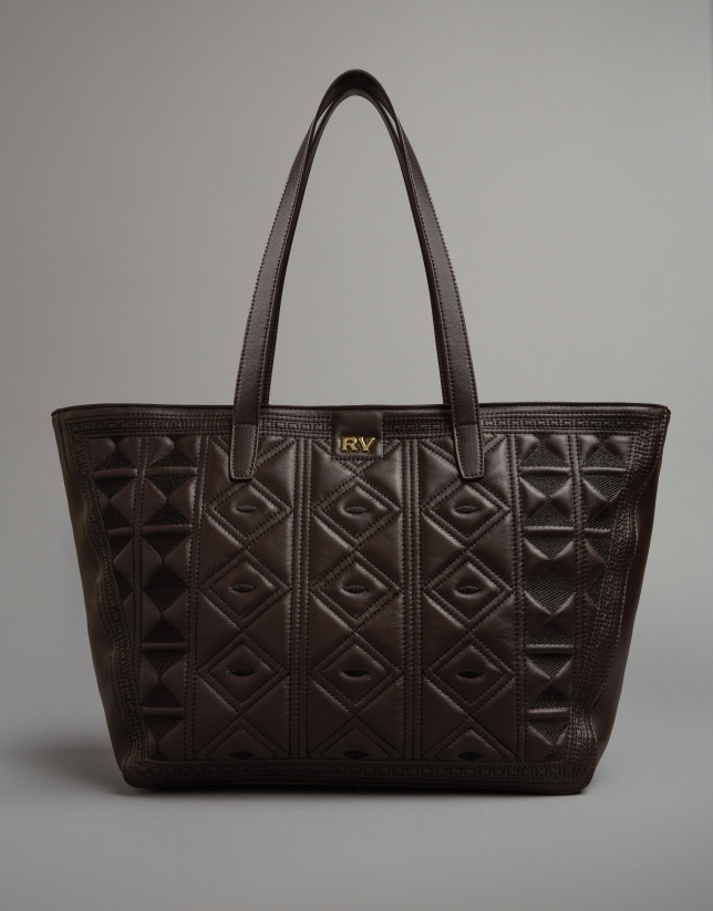 Brown leather Tiébele shopping bag