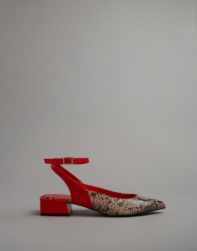 Zapato destalonado piel roja y serpiente