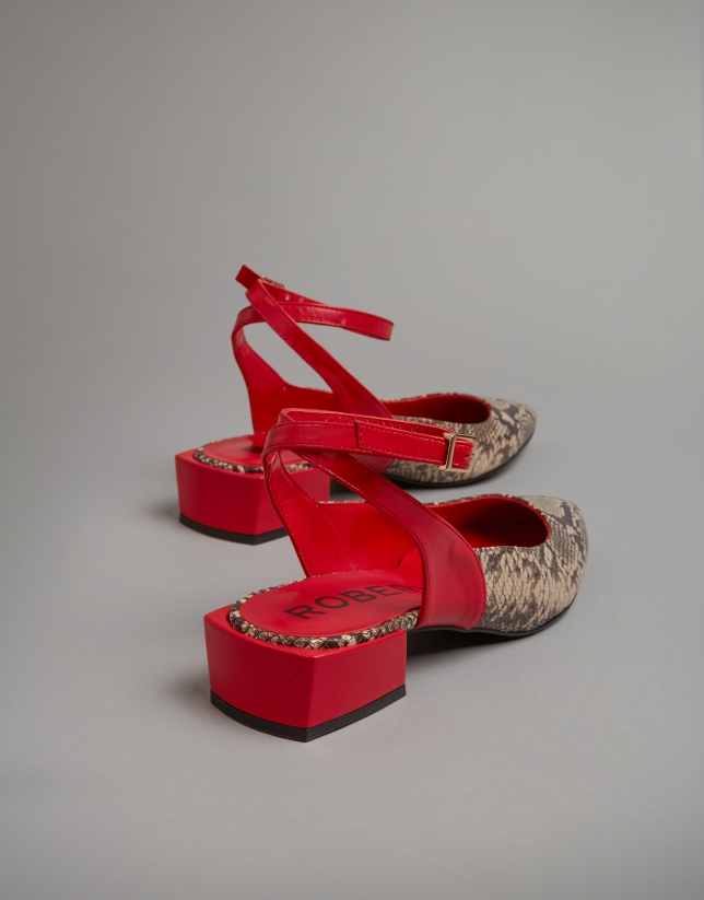 Red leather and snakeskin sling backs