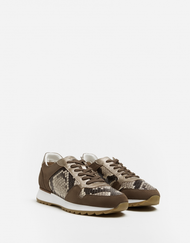 Beige suede and snakeskin running shoes