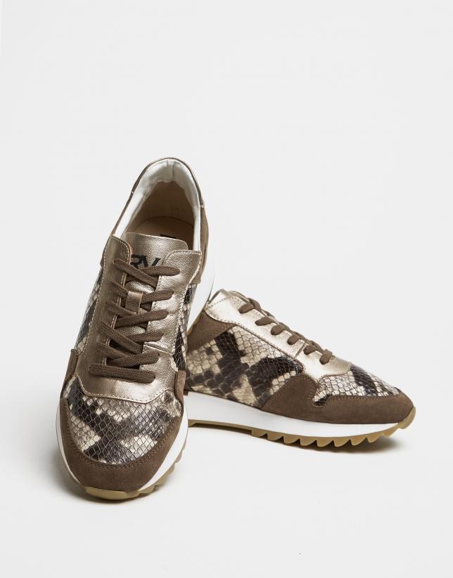 Beige suede snakeskin running shoes