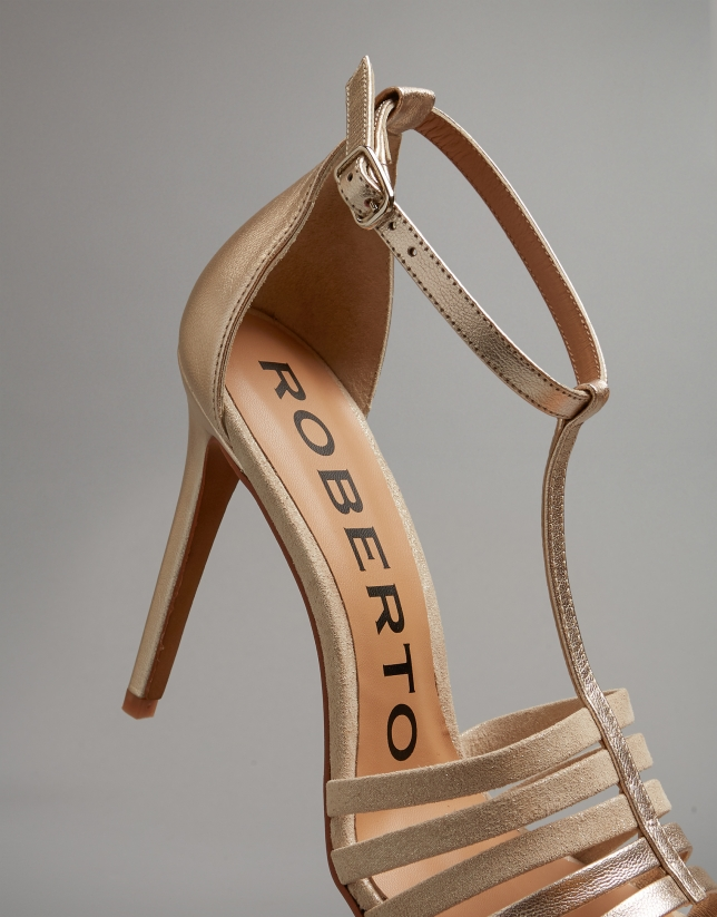 Gold leather heeled sandals