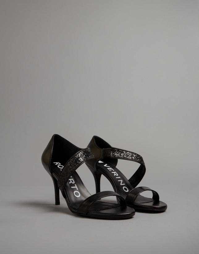 Sandalia piel negra
