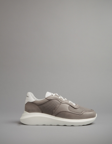 Zapatilla deportiva piel gris