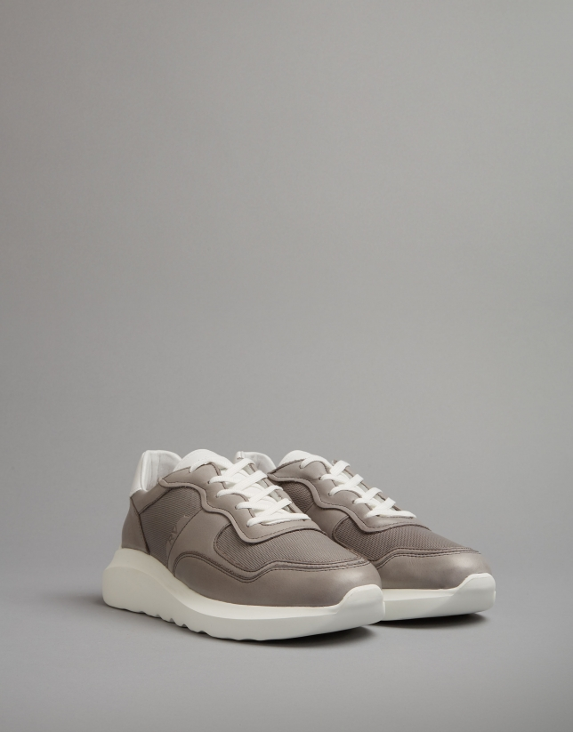 Brown leather running shoes