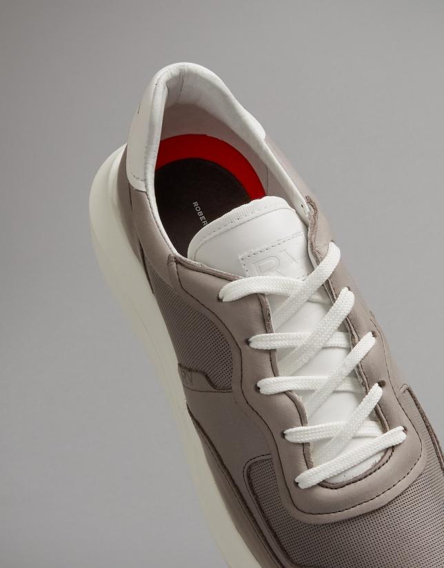 Zapatilla deportiva piel marrón