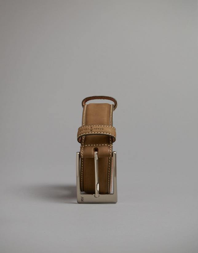 Cinturón nobuck cámel