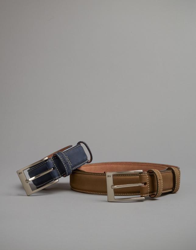Cinturón nobuk marino