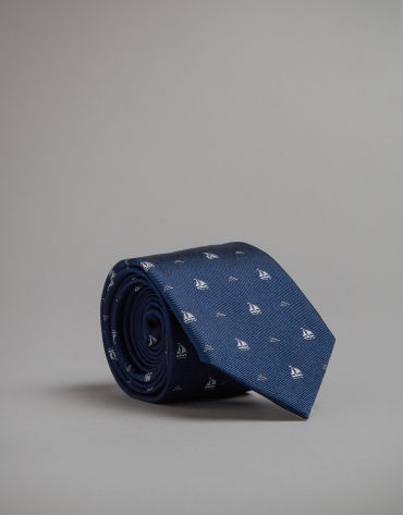 Blue tie with sailboat print