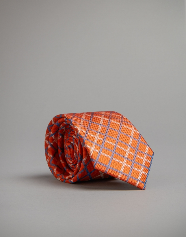 Orange tie with blue and beige lines