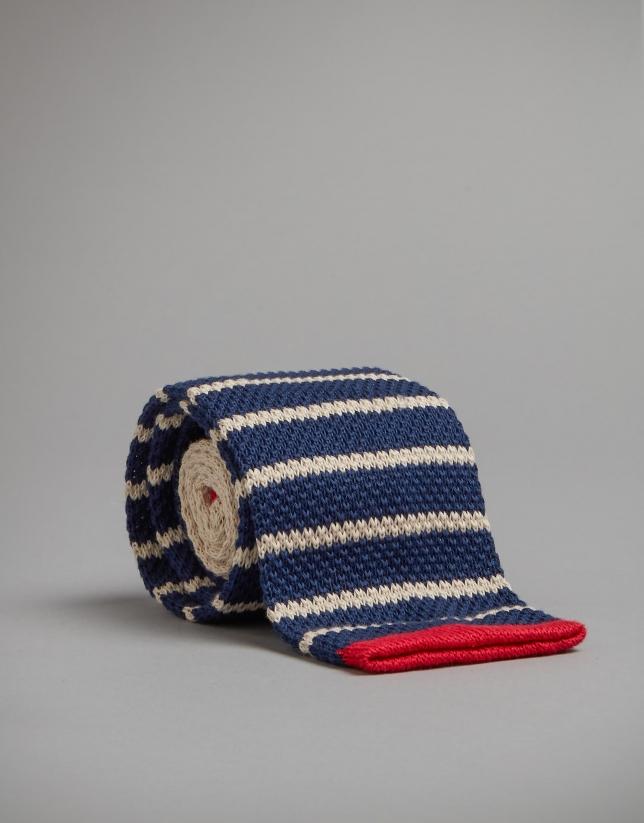 Navy blue knit tie with beige stripes