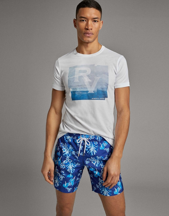 Blue tropical print swimsuit