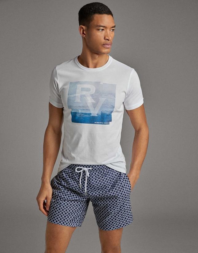 Maillot de bain géométrique en bleu marine / blanc