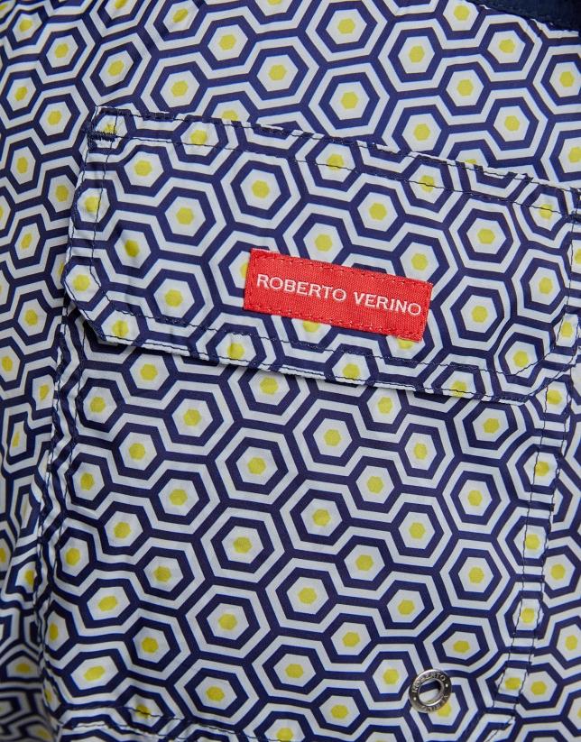 Maillot de bain imprimé géométrique en jaune/bleu