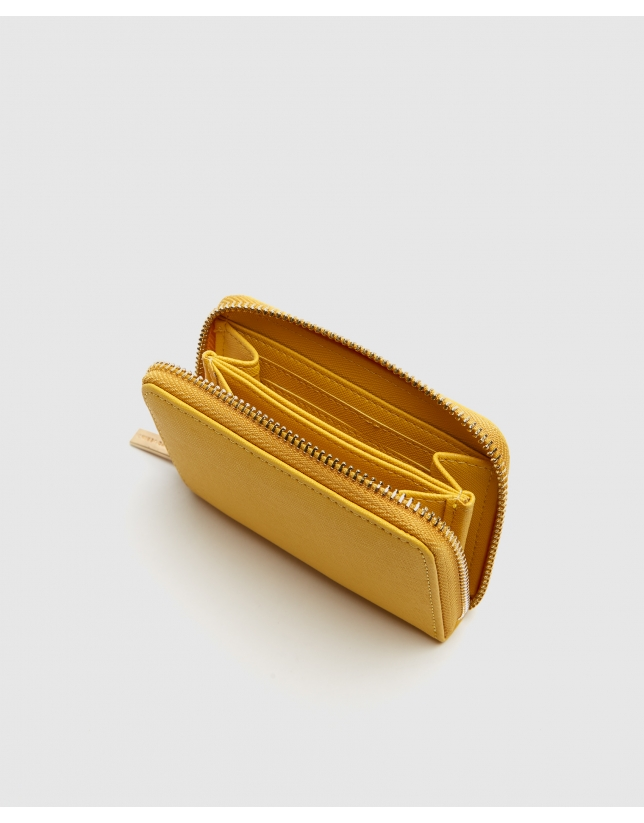 Mustard Saffiano leather mini coin purse
