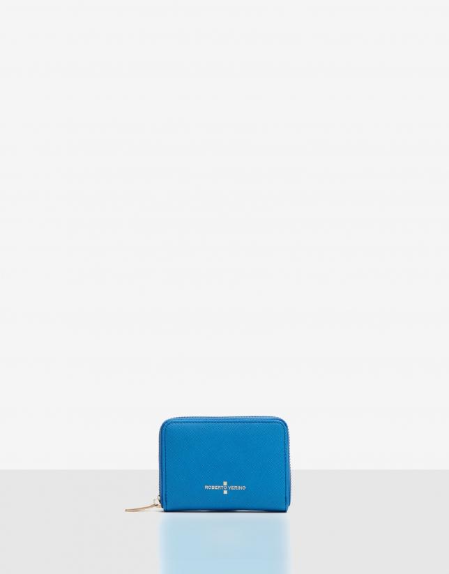 Monedero nano piel saffiano azul