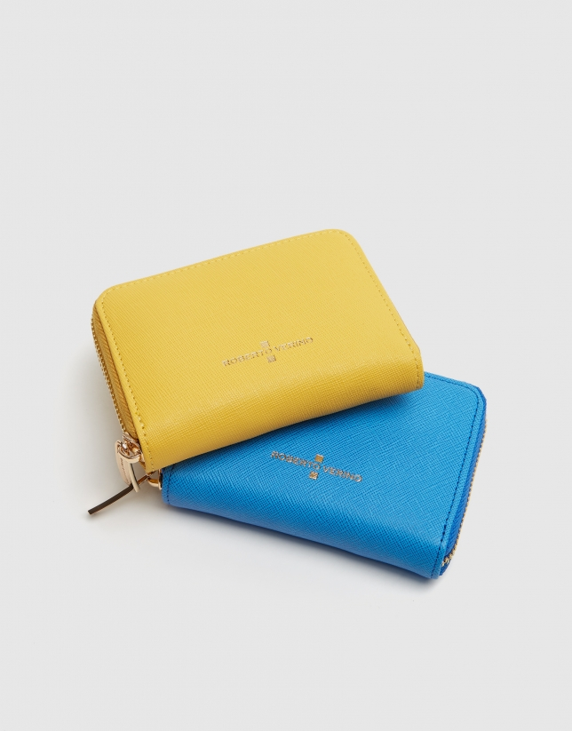 Blue Saffiano leather mini coin purse