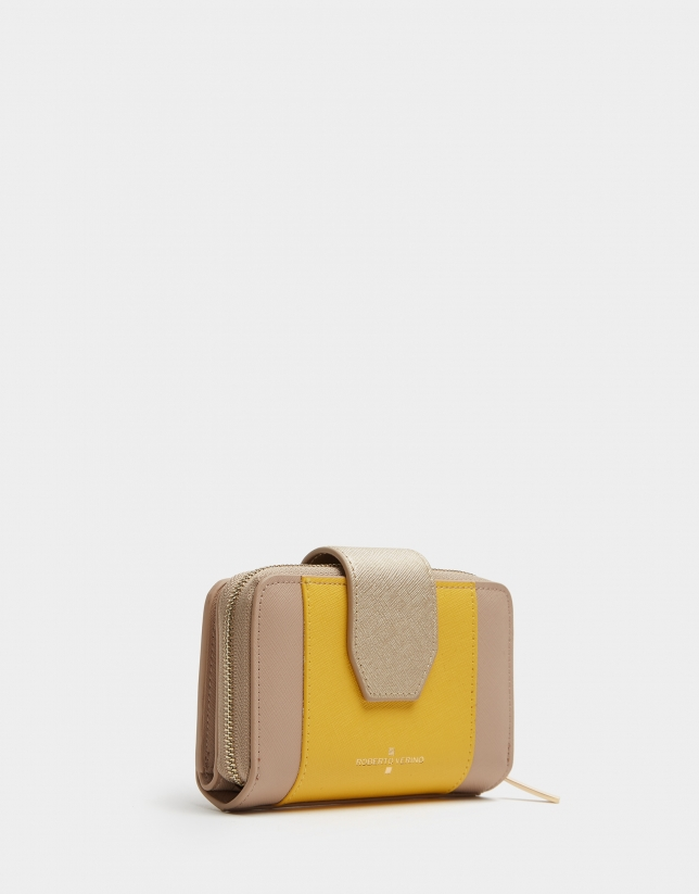 Mustard saffiano leather wallet