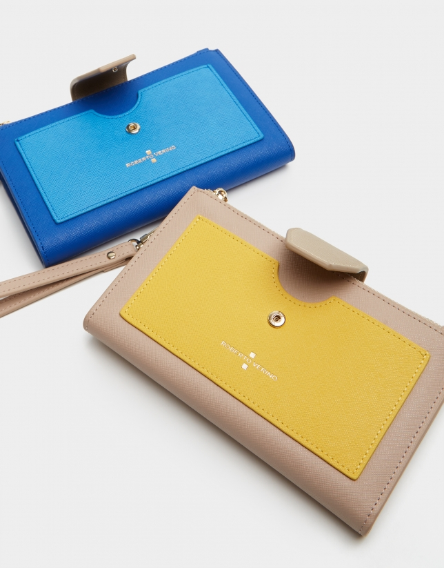 Mustard two-part saffiano leather wallet