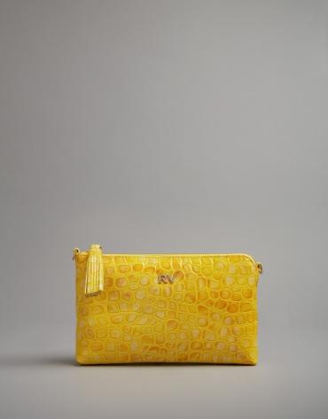 Mustard embossed alligator Nano Lisa Saffiano clutch bag