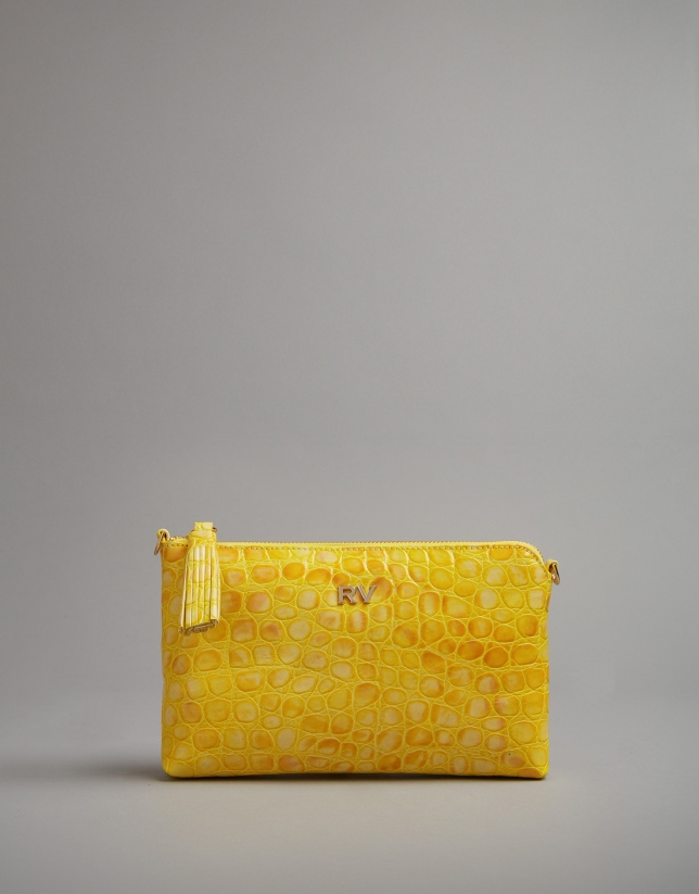 Mustard embossed alligator Nano Lisa Saffiano clutch bag